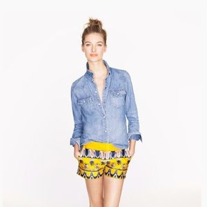 J.CREW Scroll-Print Yellow and Navy Blue Shorts